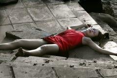 Crime scene, dead woman stock photos