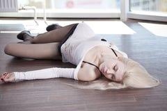 Crime scene - dead woman Stock Image
