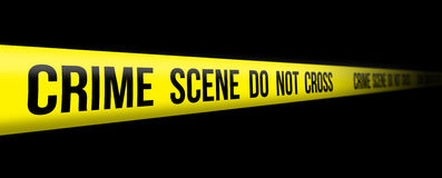 Crime Scene Do Not Cross. Yellow tape Royalty Free Stock Photography