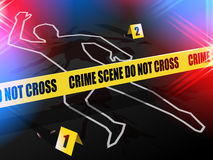 Crime scene - Do not cross, with Chalk outline of gun violence victim. Crime scene - Do not cross.  Chalk outline of murdered victim of Gun Violence on the road Stock Image