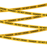 Crime scene Do Not Cross danger yellow tape, police line tape. Cartoon flat-style illustration White background. Crime scene yellow tape, police line Do Not Stock Images