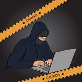 Crime scene. Do not cross police line. Hacker with laptop. Yellow striped warning tape. Stock  illustration Stock Image