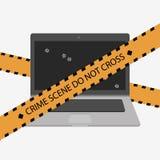 Crime scene. Do not cross police line. Laptop with bullets. Crime scene. Do not cross police line. Yellow striped warning tape. Stock  illustration Stock Images