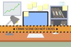 Crime scene. Do not cross police line. Workplace with PC. Crime scene. Do not cross police line. Yellow striped warning tape. Stock  illustration Stock Images