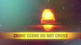 Crime Scene Do Not Cross Yellow Headband Tape and Orange flashing and revolving light in the Winter Snowy Night stock video footage