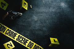 Crime scene with dramatic lighting stock photos