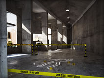 Crime scene in an empty building Stock Photos