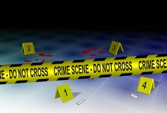 Crime scene and evidence. A yellow police tape spelling crime scene do not cross with some evidence on a floor Stock Photo