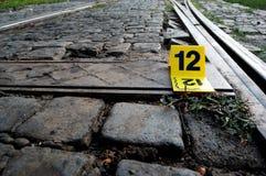 Crime Scene Evidence Marker Near to Rails Royalty Free Stock Image
