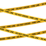 Crime scene Fire line yellow tape, police line Do Not Cross tape. Cartoon flat-style illustration White background. Stock Photography