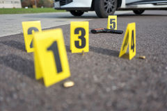 Crime scene after gunfight Stock Photography