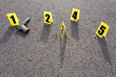 Crime scene after gunfight. ID tents at crime scene after gunfight Royalty Free Stock Photos