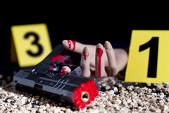 Crime scene of a gunfight. In the night royalty free stock photo