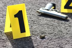 Crime scene. Id tents at crime scene after gunfight Stock Photography