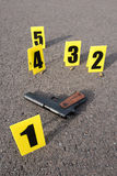 Crime scene. ID tents at crime scene after gunfight Royalty Free Stock Images