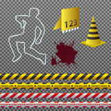 Crime scene illustration. Vector clipart. Set of crime scene details on neutral background Stock Images