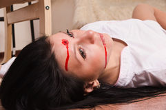 Crime scene imitation. Nurse on the floor Stock Image