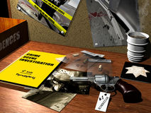 Crime scene investigation. A policeman table with photographies and evidences of a crime. A policeman badge and a hot coffee on the table indicate that the Stock Photos