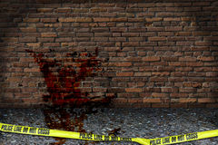 Crime Scene Investigation. This illustration displays a backyard crime scene Royalty Free Stock Photography