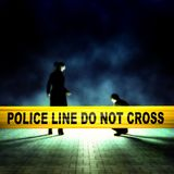 Crime scene investigation. Crime scene detectives behind yellow police tape Stock Photos
