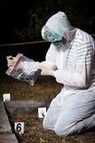 On crime scene. Crime scene investigation - handgun found Royalty Free Stock Photos