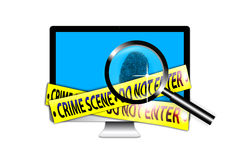 Crime Scene Investigation technology. An image for the concept of Crime Scene Investigates. The image shows a crime scene with yellow tape the say Crime Scene do Stock Image