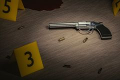 Crime scene. Investigation of murder. Gun and bullets on wooden floor with yellow markers. 3D rendered illustration.  Stock Photos