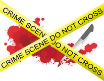 Crime scene of a knife muderer. With blood splatter on the floor Stock Image