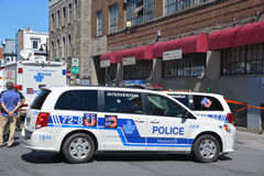 Crime scene. MONTREAL OC CANADA AUGUST 02 2015: Crime scene of two men are dead and two others remain in critical condition after an overnight assault on Saint royalty free stock photography