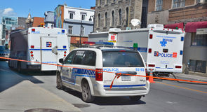 Crime scene. MONTREAL OC CANADA AUGUST 02 2015: Crime scene of two men are dead and two others remain in critical condition after an overnight assault on Saint stock photo