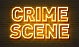 Crime scene neon sign. On brick wall background Stock Photos