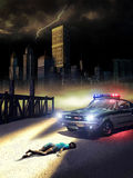 Crime scene. Night scene with police car discovering a crime scene on the docks close to a river, near the big city stock images