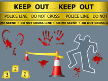 Crime scene objects. Caution sign lines, body contour, blood marks and cones at the crime scene Royalty Free Stock Photos