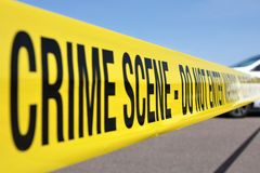 Crime scene. Police line at crime scene Royalty Free Stock Photography
