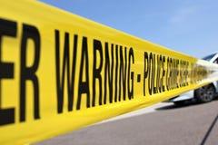 Crime scene. Police line at crime scene Stock Image