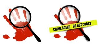 Crime Scene Red Handprints. An illustration featuring your choice of 2 crime scene images - one featuring red handprint and magnifying glass, and one with crime Stock Photo