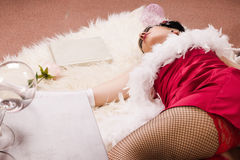 Crime scene in a retro style. Dead woman lying on the floor Stock Images