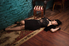 Crime scene in a retro style. Crime scene in a vintage style. Victim lying on the floor Stock Images
