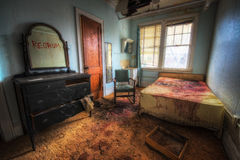 Crime scene room with redrum on the mirror. A haunted looking room meant to look like a crime scene Royalty Free Stock Photos