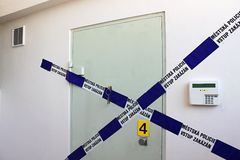 Crime scene - sealed vault door Royalty Free Stock Images