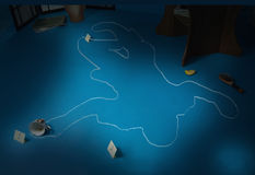 Crime scene with the silhouette of the victim. Circle Royalty Free Stock Photo