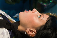 Crime scene simulation. Victim lying on the floor Stock Images