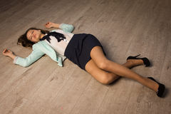 Crime scene simulation. Victim lying on the floor Stock Photography