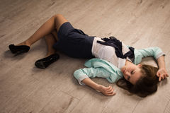 Crime scene simulation. Victim lying on the floor Stock Images