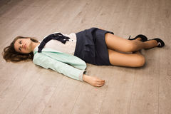Crime scene simulation. Victim lying on the floor Stock Photo