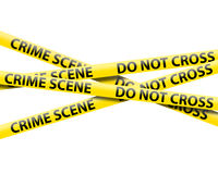 Crime scene tape. On a white background Royalty Free Stock Photo