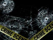 Crime scenepolice tape. Crime scene tape across broken glass window stock photo