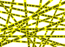 Crime Scene Tape Background Stock Photo