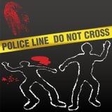 Crime scene tape corpse chalk outline. Crime scene with police tape corpse chalk outlines and bloody fingerprint Royalty Free Stock Images