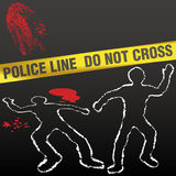 Crime scene tape corpse chalk outline royalty free illustration